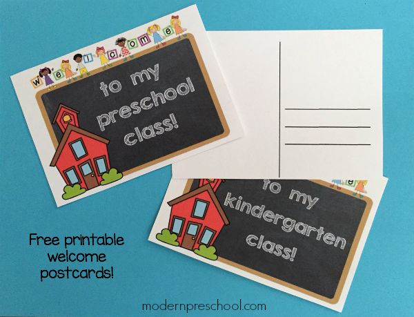 Free printable student welcome postcards for preschool & kindergarten teachers to send to their students or leave for their class at meet the teacher.