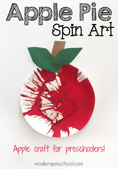 Apple pie scented paper plate spin art for preschoolers! | Modern Preschool