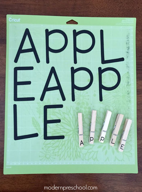 Letter matching apples! Practice letters, name recognition, and site words from Modern Preschool!