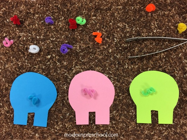 pig template for preschoolers - pig tails color sorting