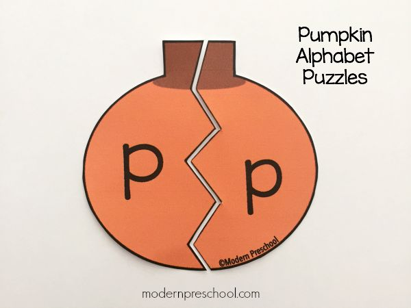 graphic regarding Printable Puzzles for Preschoolers identified as Pumpkin Alphabet Puzzles