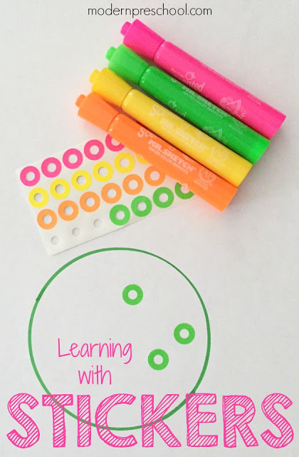 Teach colors and matching with stickers to preschoolers and toddlers! {Modern Preschool}