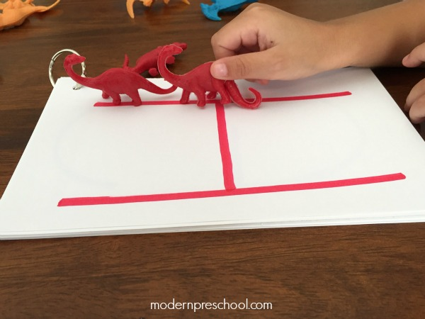 Practice letter formation and recognition! Dinosaur letter tracing for preschoolers busy bag activity from Modern Preschool!