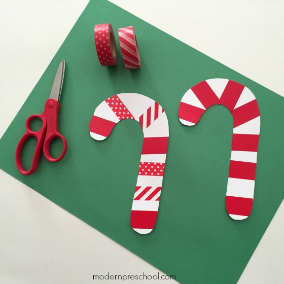 Simple paper candy cane washi tape ornament for kids - decorate and strengthen fine motor skills!
