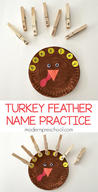 Letter matching turkey feather name recognition activity & busy bag to practice letters and fine motor skills for preschoolers!