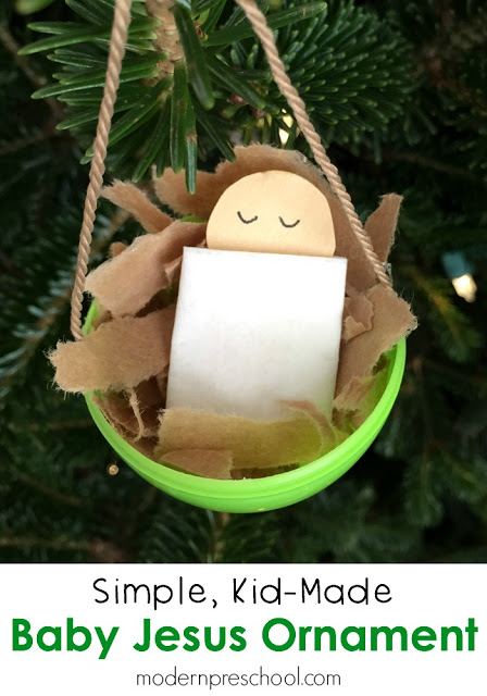 Baby Jesus plastic egg kid-made Christmas ornament inspired by Silent Night from Modern Preschool!