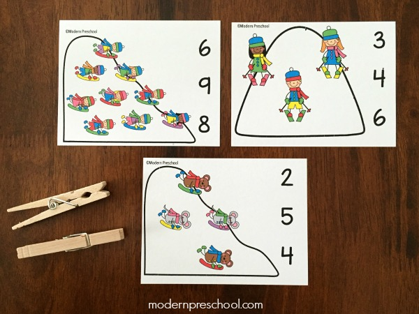 FREE printable snow day count & clip cards for preschoolers and kindergarteners to practice numbers 1-10 and fine motor skills during the winter theme.
