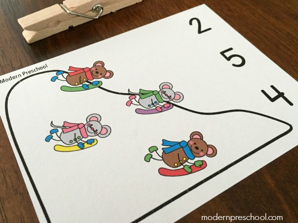 Snow day count & clip cards for preschoolers and kindergarteners to practice numbers 1-10 and fine motor!