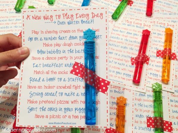 Boredom busters printable list for toddlers & preschoolers over Christmas winter break from Modern Preschool
