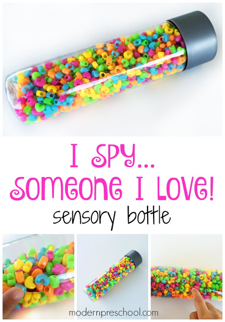 "Super simple ""I Spy Love"" Sensory Bottle for toddlers, preschoolers, and Valentine's Day!"