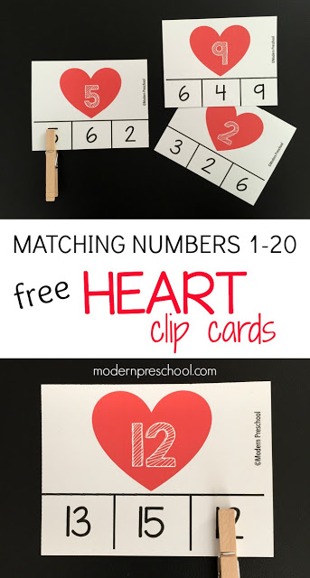 FREE printable Heart Number Match Clip Cards for toddlers, preschoolers, and kindergarteners to practice number recognition, hand-eye coordination, and fine motor skills to use during Valentine's Day!