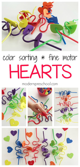 Our Color Sorting Hearts Busy Bag is easy to prep and includes lots of fine motor, color matching, Valentine's Day themed learning center work for preschoolers and toddlers to use in the classroom or at home!