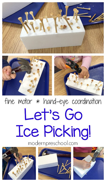 Let's go fine motor ice picking in preschool! Work on fine motor skills and hand-eye coordination with golf tees, hammers, and block of ice.