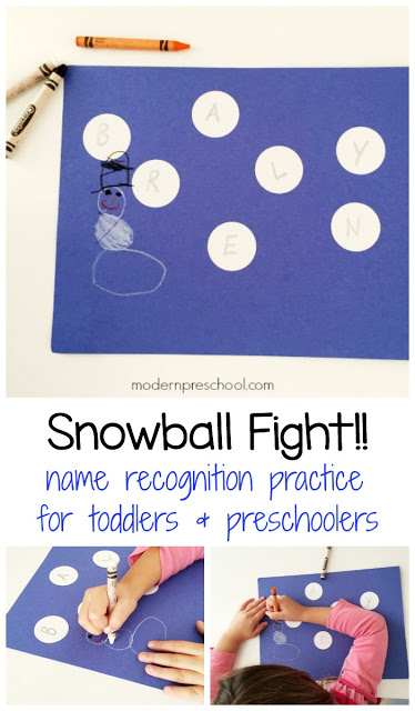 Simple letter matching snowball fight activity to practice name recognition for toddlers & preschoolers!