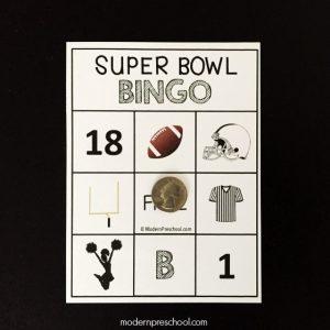 Preschool Super Bowl BINGO