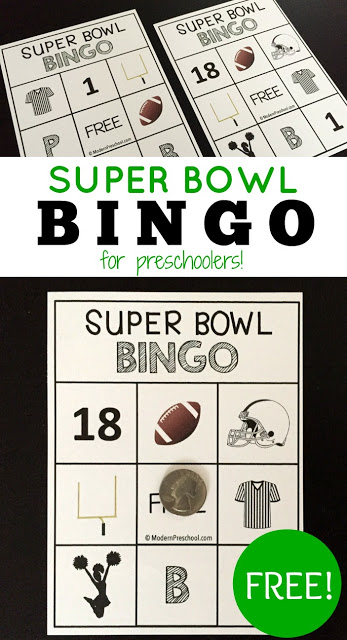 Free SUPER BOWL BINGO for preschoolers or toddlers! Follow the football game at the pace of little ones.