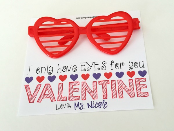FREE printable Valentines to use with fun heart-shaped glasses or sunglasses! Simply print, cut, fold, and put together. Great for kids to give!