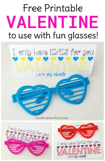 FREE sunglasses printable Valentines to use with fun heart-shaped glasses or sunglasses! Simply print, cut, fold, and put together. Great for teachers, friends, or kids to give!