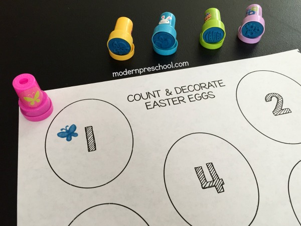 FREE printable Easter egg counting & stamping number activity designed to be toddler and preschool friendly! Two versions are available to encourage successful math practice!