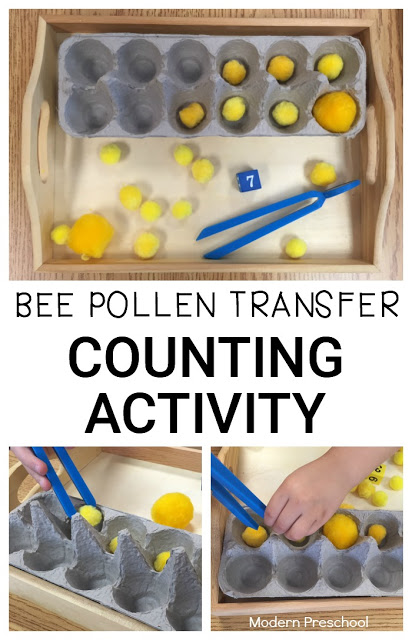 Bee pollen counting activity for preschoolers and toddlers! Practice identifying numbers, counting, and strengthening fine motor skills while transferring pretend pollen!