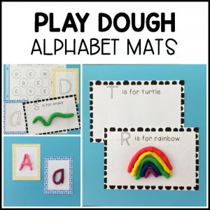 Low prep Play Dough Alphabet Mats for preschoolers and kindergarteners to practice letter recognition, formation, initial sounds, and fine motor skills!