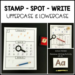 Mastering uppercase and lowercase letter skills is made easy with the Alphabet Stamp Spot Write It set! Practice letter formation and recognition.