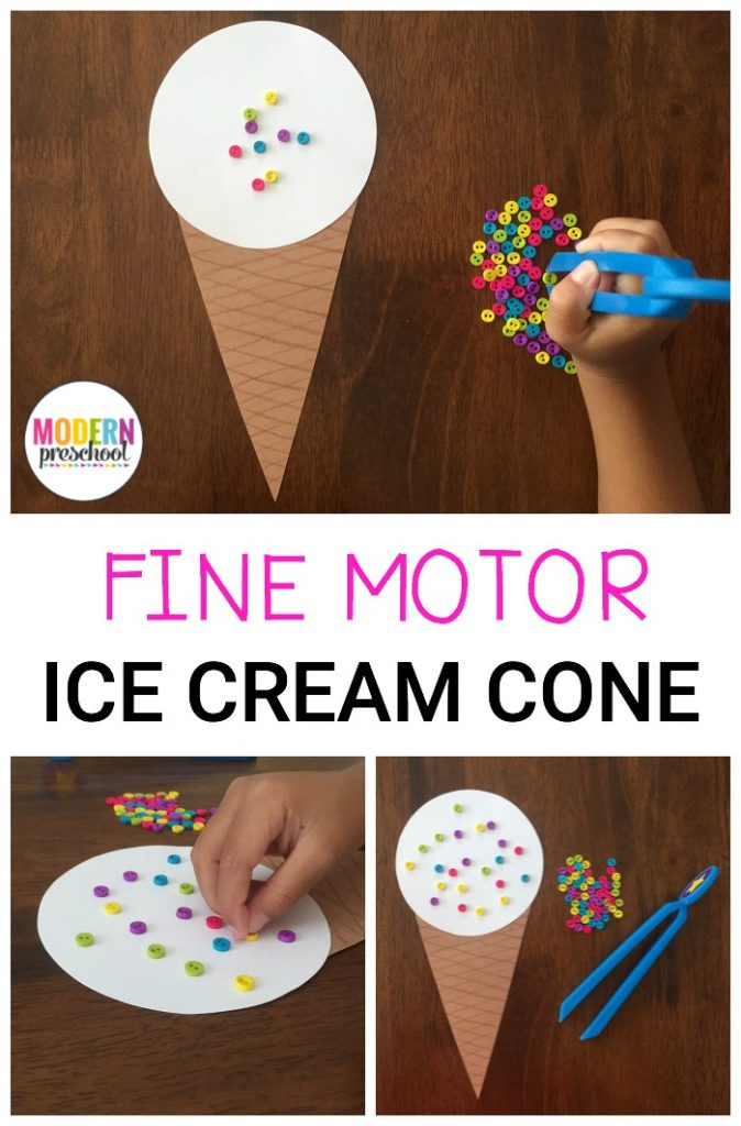 Preschoolers can strengthen fine motor skills while adding pretend sprinkles to a yummy ice cream cone treat in this super simple homemade activity!