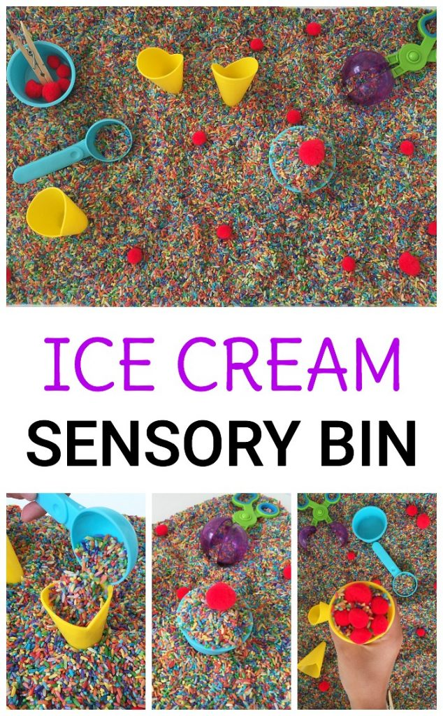 Kids can play in this simple ice cream toppings sensory bin and practice scooping, pouring, and other fine motor skills. A great idea for summer!
