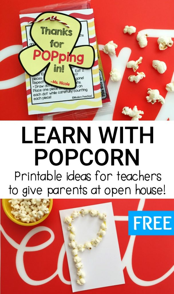 FREE popcorn learning ideas printable for teachers during preschool & kindergarten open house! Snack & learn with these 5 simple math and literacy ideas!