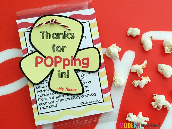 REE popcorn printable for teachers to give to preschool & kindergarten parents at open house! Snack & learn with these 5 simple math and literacy ideas!
