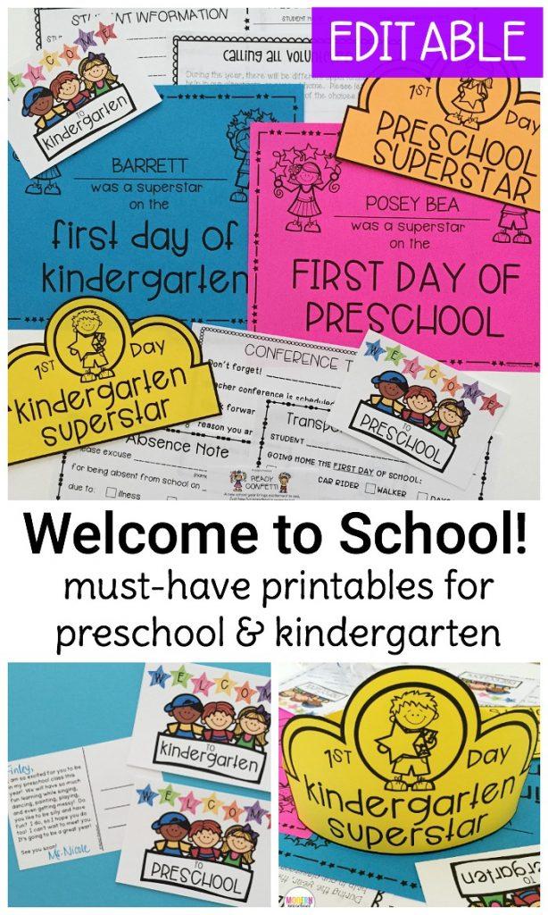 Welcome to School Pack for Preschool & Kindergarten