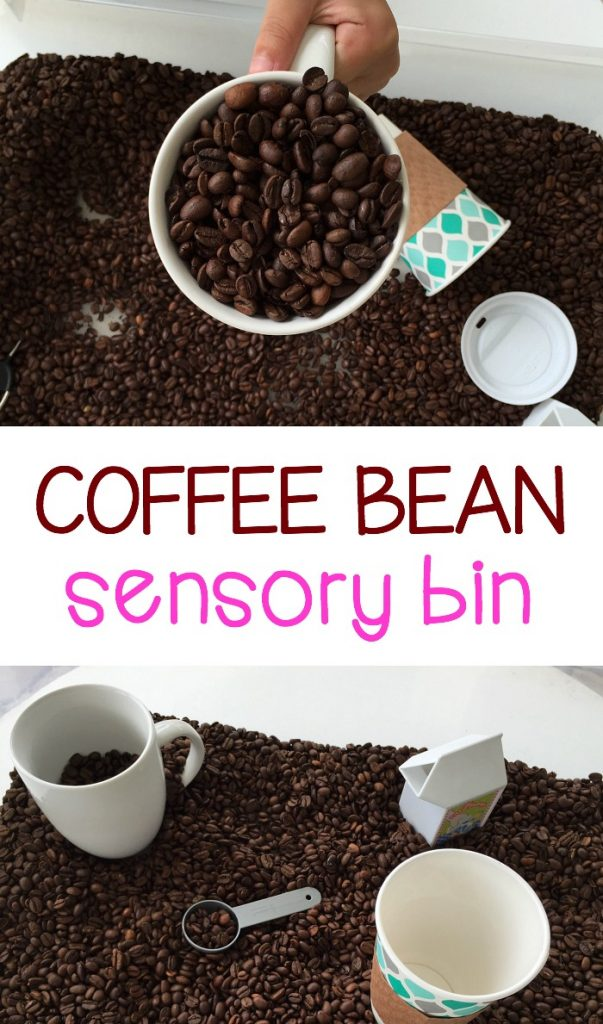 Preschoolers and toddlers will love the smell of the coffee beans during pretend play and exploration in this coffee bean sensory bin!