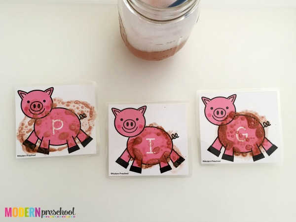 Surprise uppercase letters appear after toddlers, preschoolers, or kindergarteners clean the mud off of the pigs on these free alphabet printable cards!
