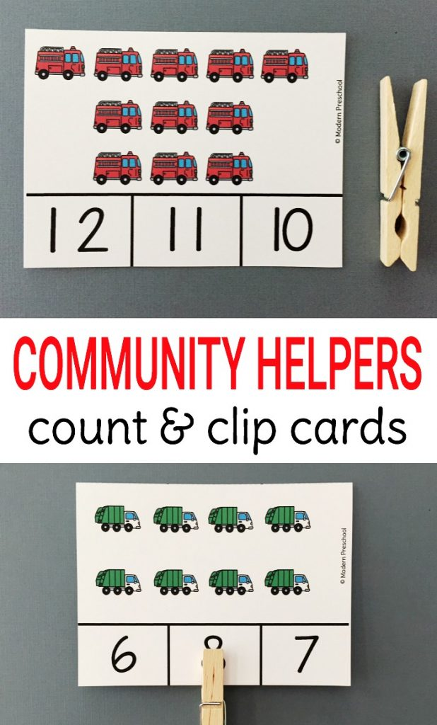 Community Helper Vehicles Count & Clip Cards