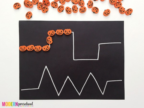 Simple pumpkin pre-writing activity for toddlers and preschoolers to develop writing skills and strengthen fine motor skills with mini erasers!