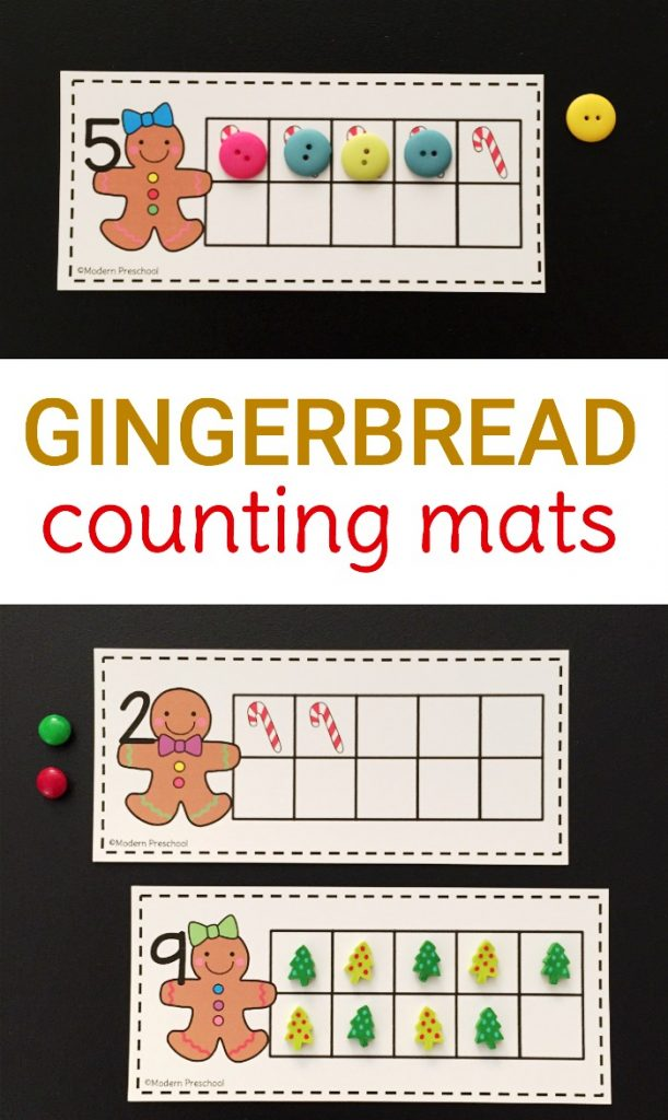 Preschoolers and kindergarteners can practice counting, subitizing, and number recognition with our FREE printable gingerbread 10 frame counting mats! Perfect for December!