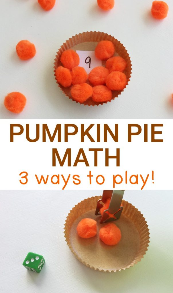 Three ways to play our pumpkin pie math game with preschoolers or kindergarteners are included to practice number, counting, subitizing, & addition skills!
