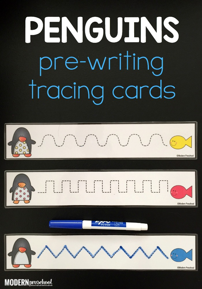 FREE set of printable penguin pre-writing tracing cards for preschoolers and kindergarteners to work on pencil grip, fine motor, and writing skills!