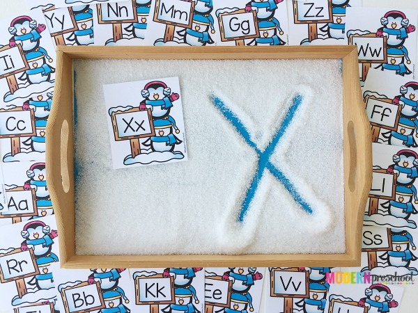 photo regarding The Snowy Day Printable titled Snowy Working day Alphabet Creating Tray
