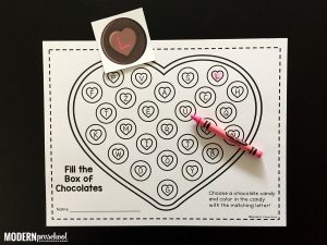 Box of Valentine Chocolates Alphabet Match