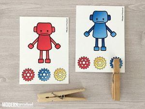 Robot Color Matching Clip Cards