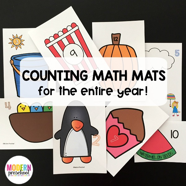 16 sets of printable counting math mats for preschool, pre-k, and kindergarteners to use with manipulatives and snacks while practicing 1-12!