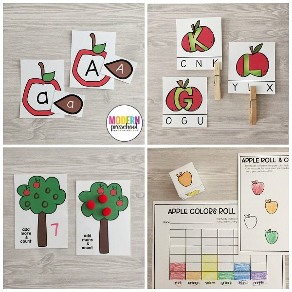 Easy to prep and fun to play printable APPLES literacy & math centers for preschool, prek, kindergarteners to add to an apple theme and activities.