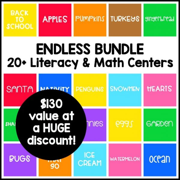 ENDLESS Themed Literacy & Math Centers for preschool and kindergarten! Low prep, engaging printable activities for the entire school year!