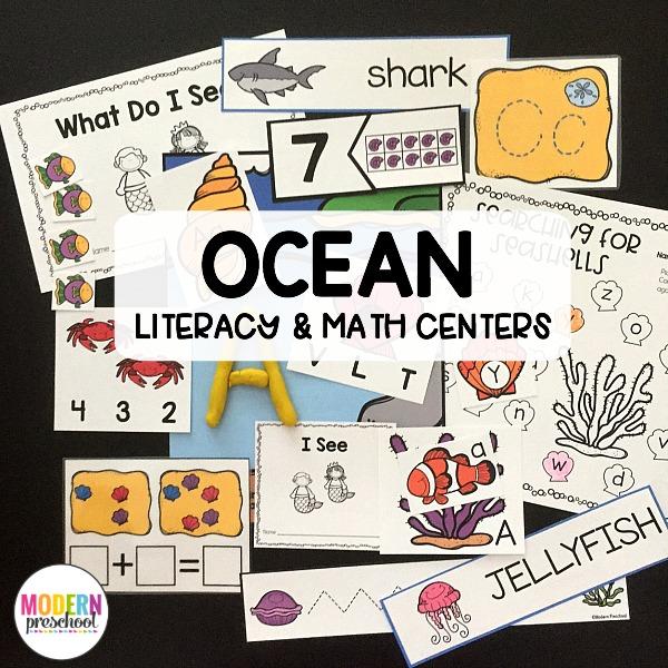 The BEST hands-on ocean themed literacy & math printable centers. Kid-friendly, low prep learning centers for preschool, prek, kindergarten!