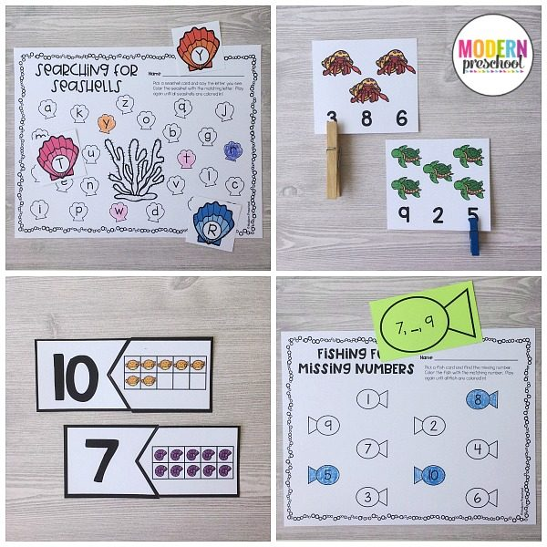 The BEST hands-on ocean themed literacy & math printable centers. Kid-friendly, low prep learning centers for preschool, prek, kindergarten!