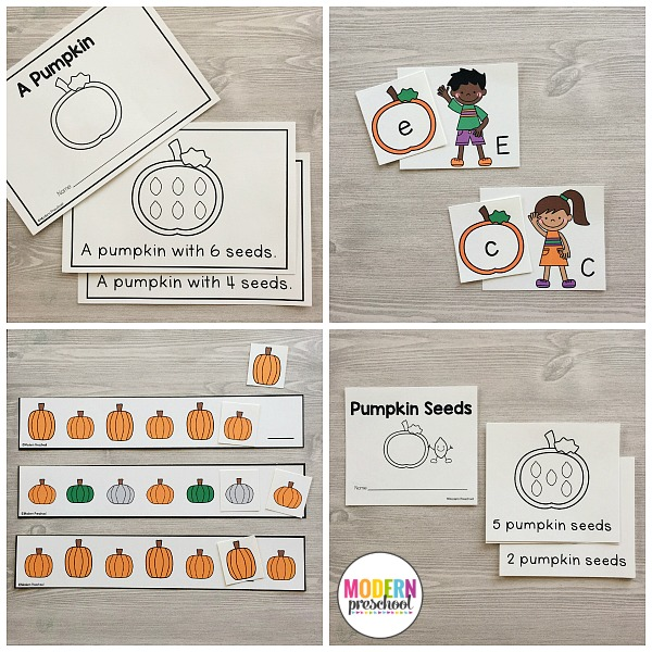 The PERFECT printable Pumpkins Literacy & Math Centers for preschool, pre-k, and kindergarten this fall. Low prep learning center activities for kids!
