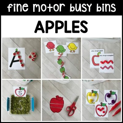 PERFECT printable APPLES fine motor busy bins to use as morning work tubs in preschool, pre-k, homeschool to use with classroom manipulatives!