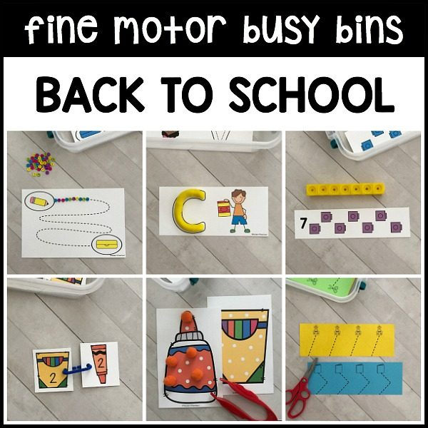 PERFECT printable back to school fine motor busy bins to use as morning work tubs in preschool, pre-k, homeschool to use with classroom manipulatives!