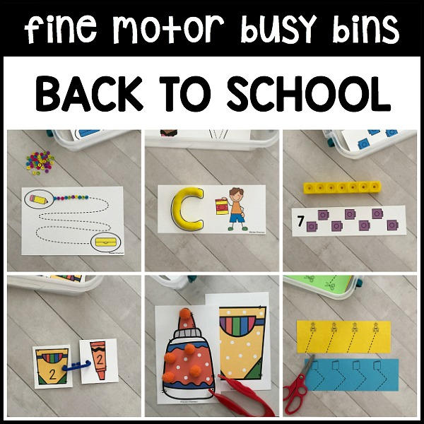 back to school fine motor busy bins